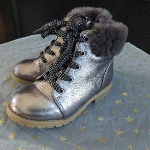 NWT Toddler Girl Shoe Sz 10 GAP Gunmetal Fur Boots